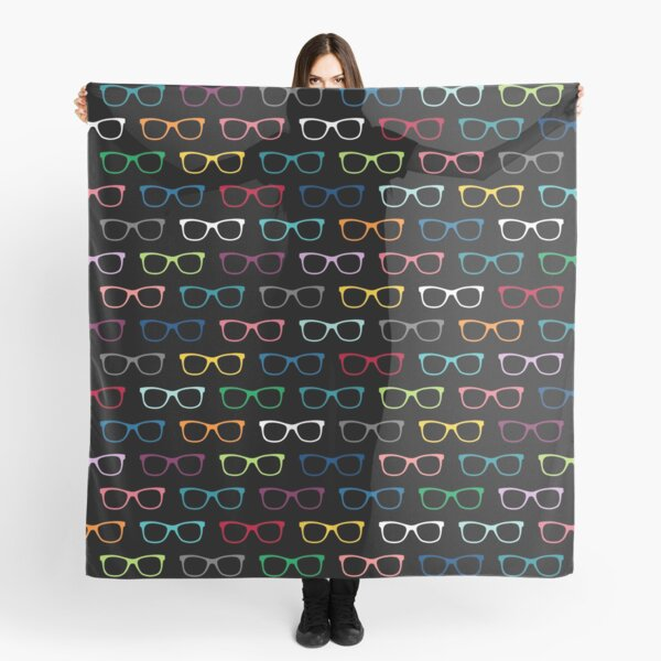 Colorful Hipster Eyeglasses Pattern Scarf
