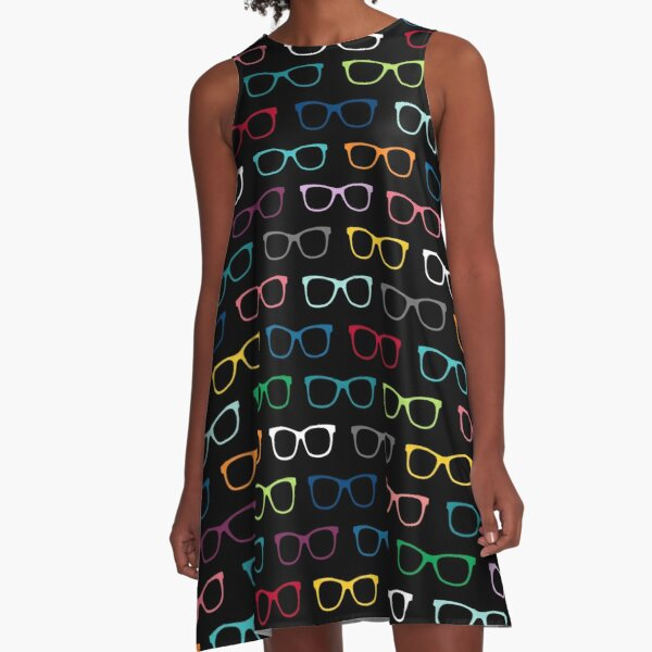 Colorful Hipster Eyeglasses Pattern A-Line Dress