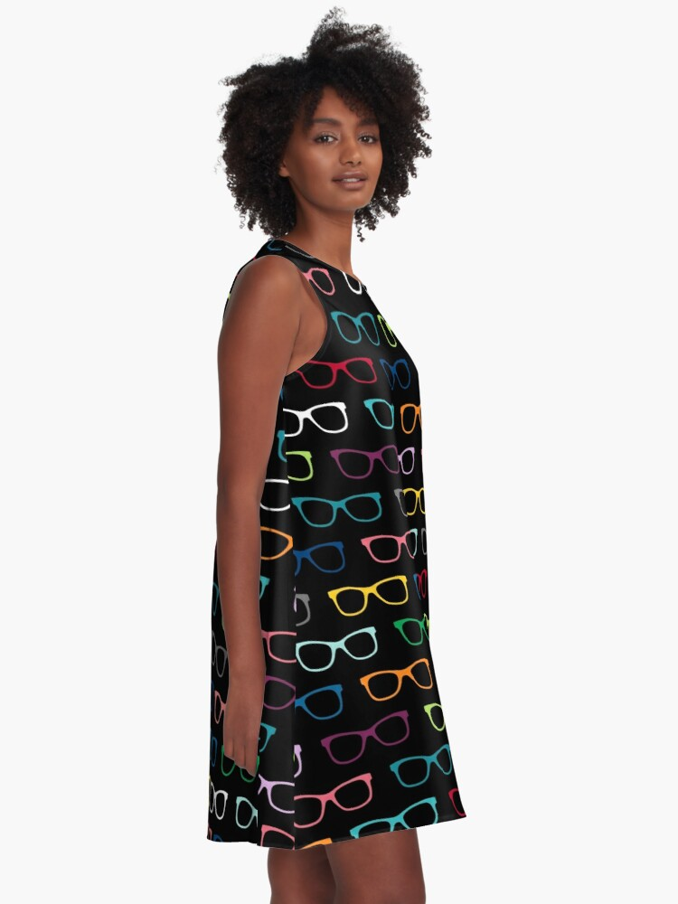 Alternate view of Colorful Hipster Eyeglasses Pattern A-Line Dress