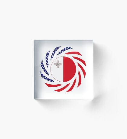 Maltese American Multinational Patriot Flag Series Acrylic Block
