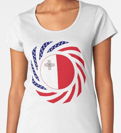 Maltese American Multinational Patriot Flag Series Premium Scoop T-Shirt