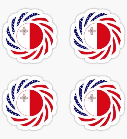 Maltese American Multinational Patriot Flag Series Sticker