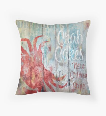 New Orleans Crab Cakes Restaurant Sign Throw Pillow