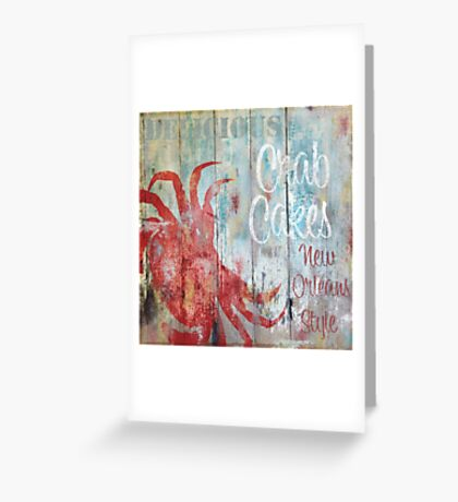 New Orleans Crab Cakes Restaurant Sign Greeting Card