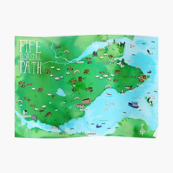 Fife Coastal Path Scotland Illustrated Map Watercolor Art Poster