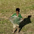 The shy little boy with his kite by aunkurs