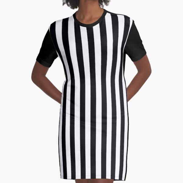 Black & White Striped Dress Graphic T-Shirt Dress