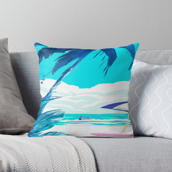 beach surf sun art  Throw Pillow
