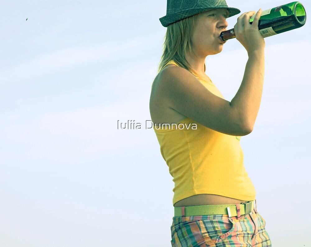 girl drinks wine from a bottle by Iuliia Dumnova