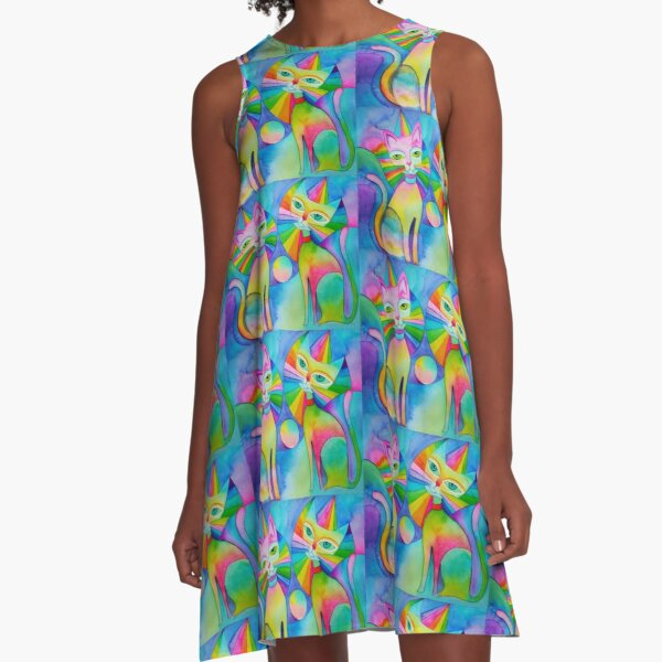 Rainbow Pussies A-Line Dress