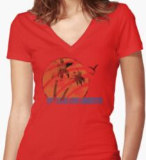 Scarred Sunset Women's Fitted V-Neck T-Shirt