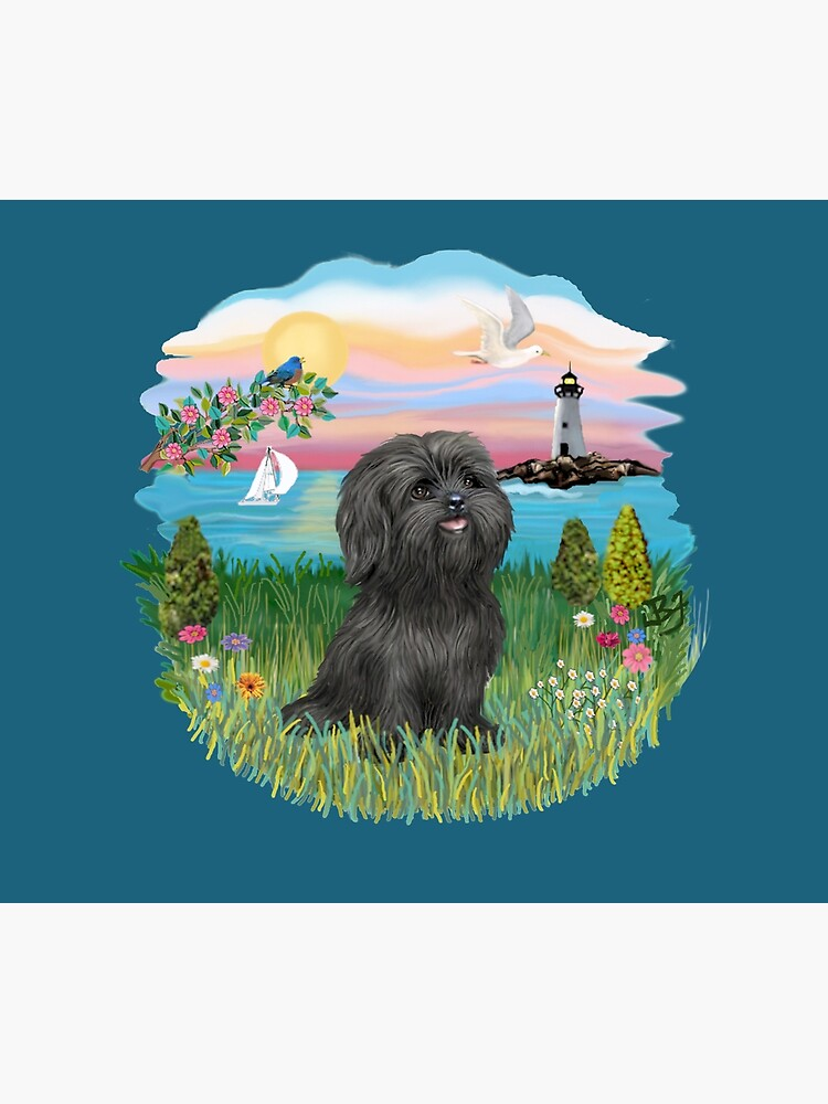 At the Shore with a Black Shih Tzu by JeanBFitzgerald