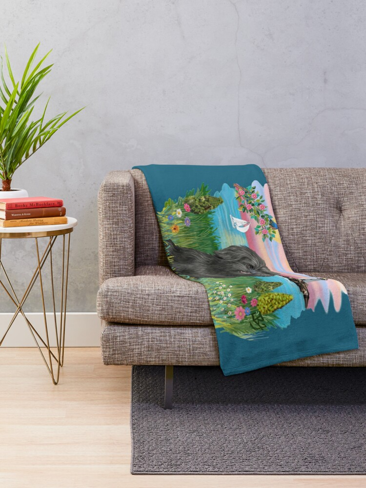 Alternate view of At the Shore with a Black Shih Tzu Throw Blanket
