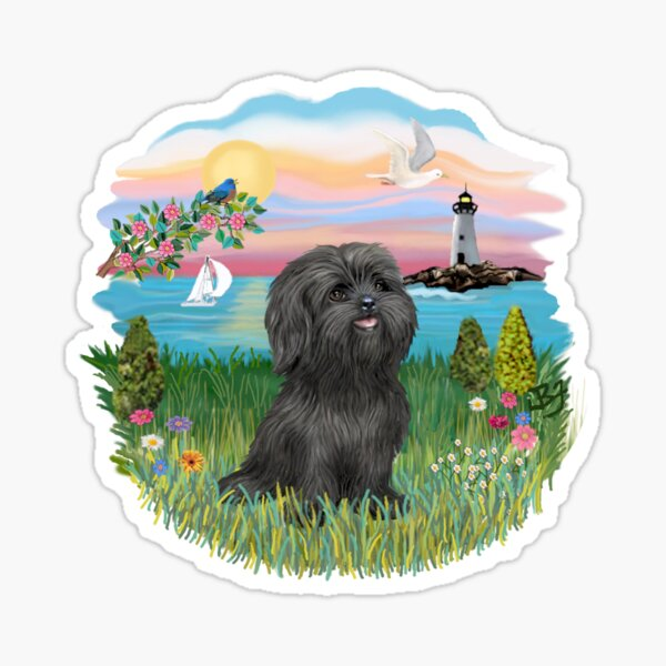 At the Shore with a Black Shih Tzu Sticker
