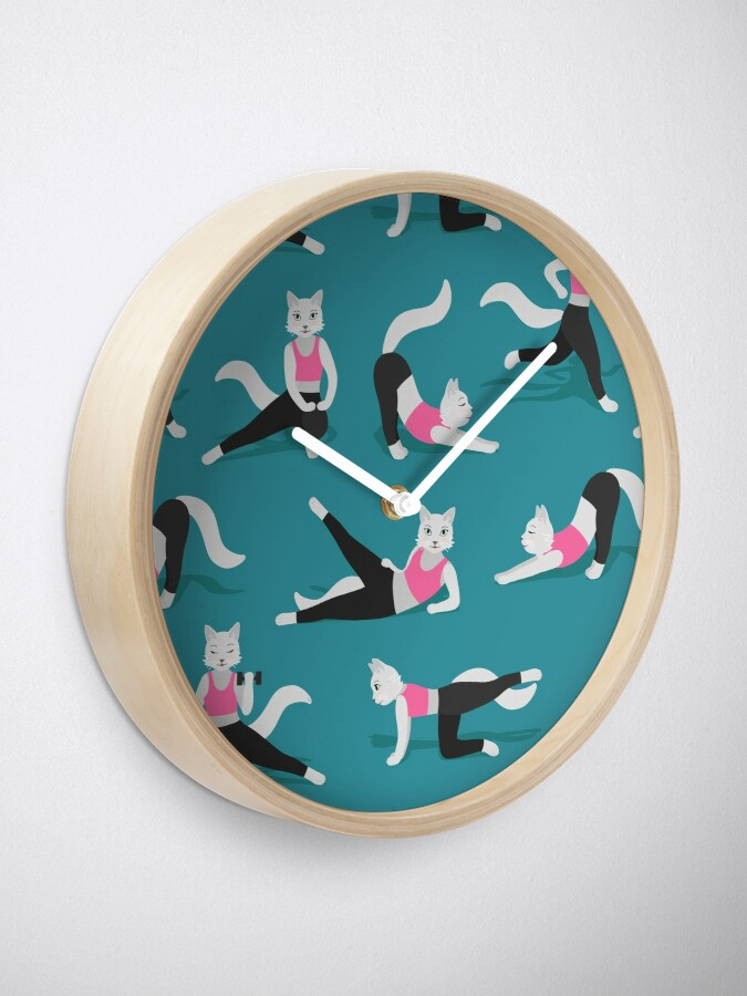 Alternate view of Fitness Cats on teal (with stickers) Clock