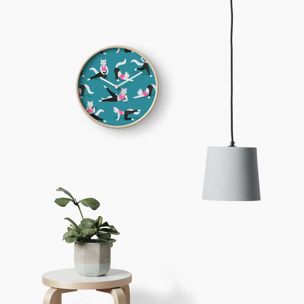 Fitness Cats on teal (with stickers) Clock