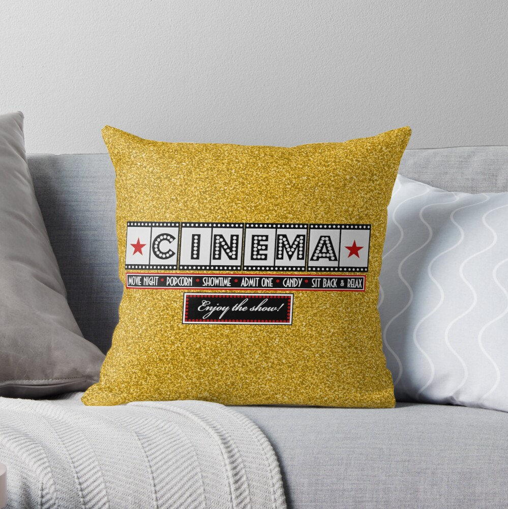 Película Cine Cine Film Throw pillow-Gold Cojín