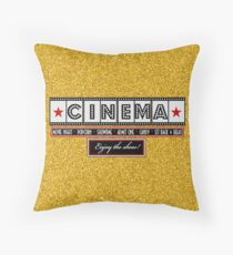 Movie Theater Cinema Film Throw pillow-Gold Throw Pillow