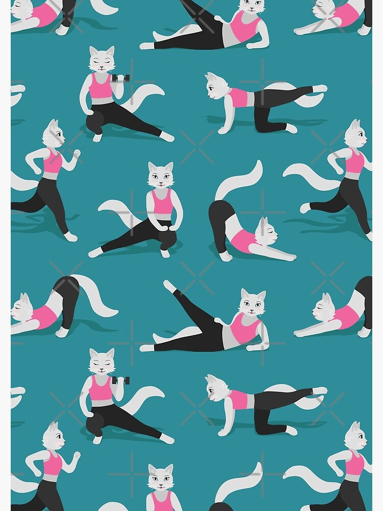 Fitness Cats on teal (with stickers) by nadyanadya