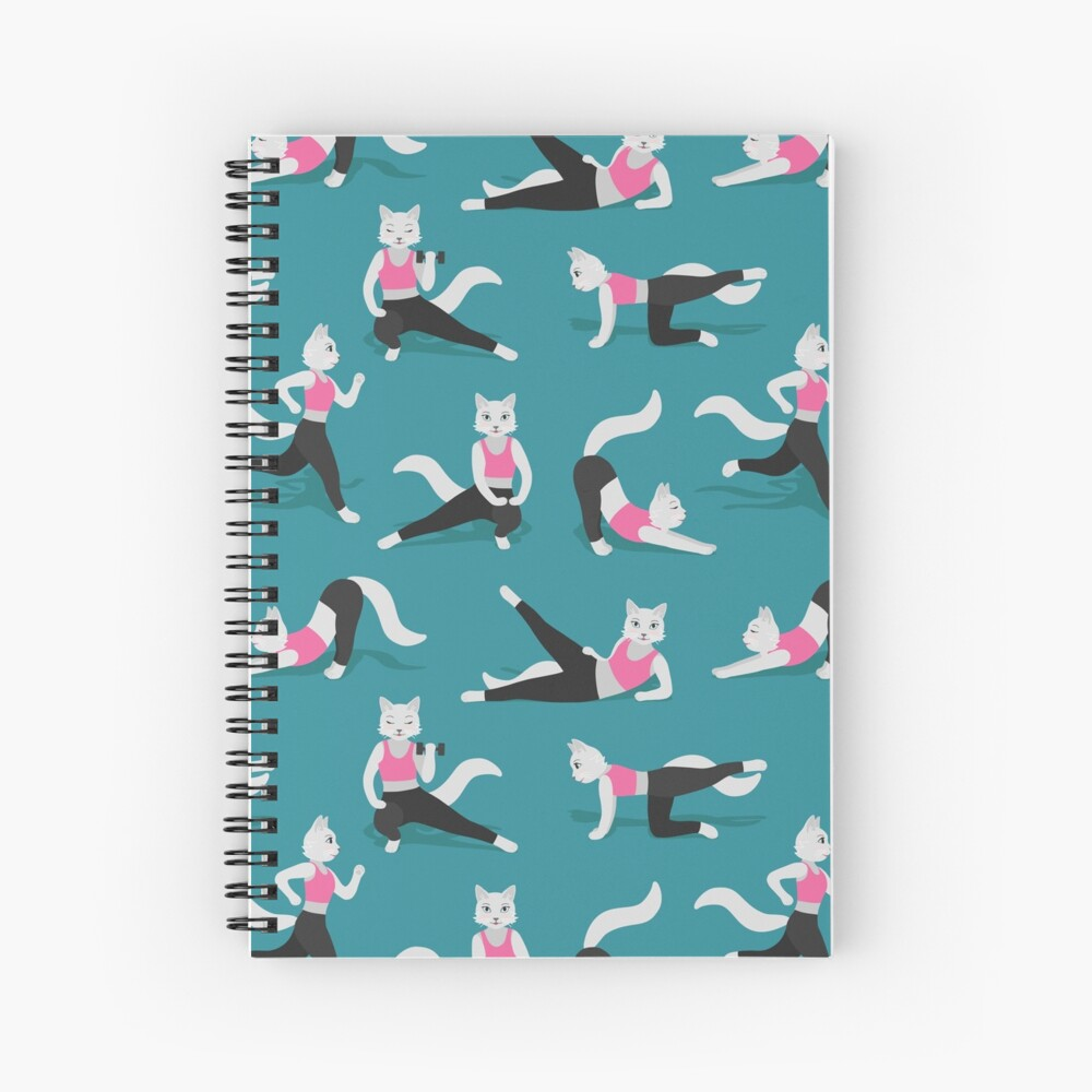 Fitness Cats on teal (with stickers) Spiral Notebook