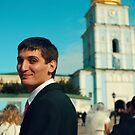 Portrait of a guy in the background of St. Sophia's Cathedral by Iuliia Dumnova