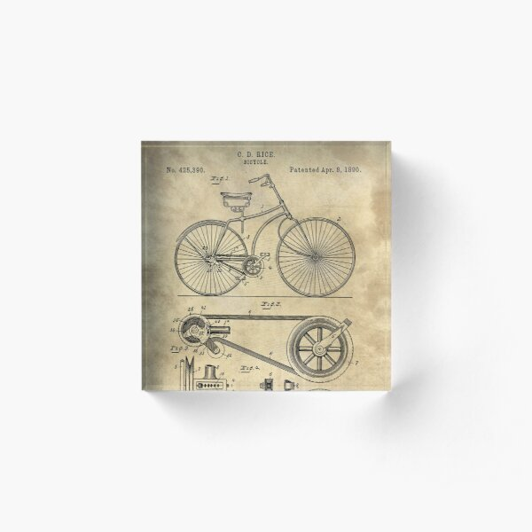 Antique Bicycle Blueprint patent drawing plan, Industrial farmhouse Acrylic Block
