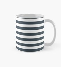 Charcoal Gray and White Horizontal Stripes Classic Mug