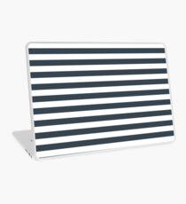 Charcoal Gray and White Horizontal Stripes Laptop Skin