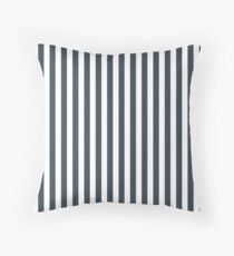Charcoal Gray and White Vertical Stripes Floor Pillow