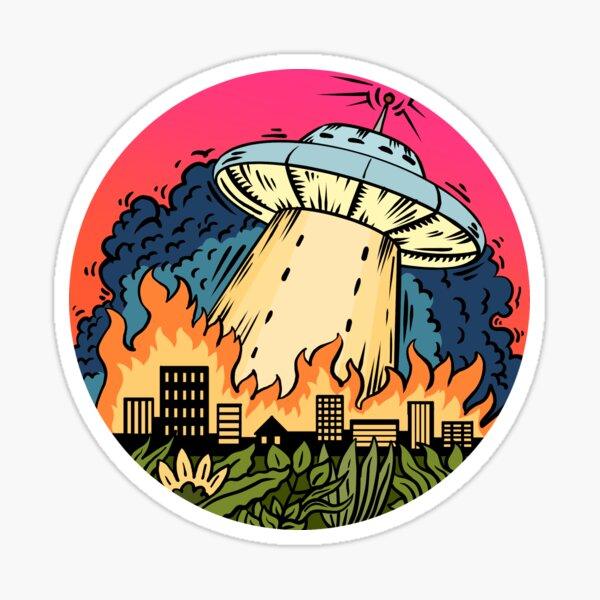 Flying Saucer hits the town Sticker