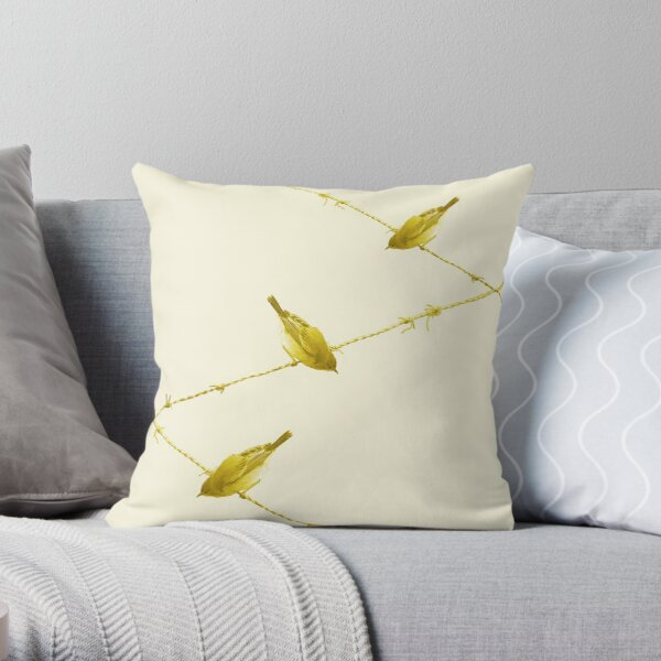 Monochrome - Yellow warblers on the wire Throw Pillow
