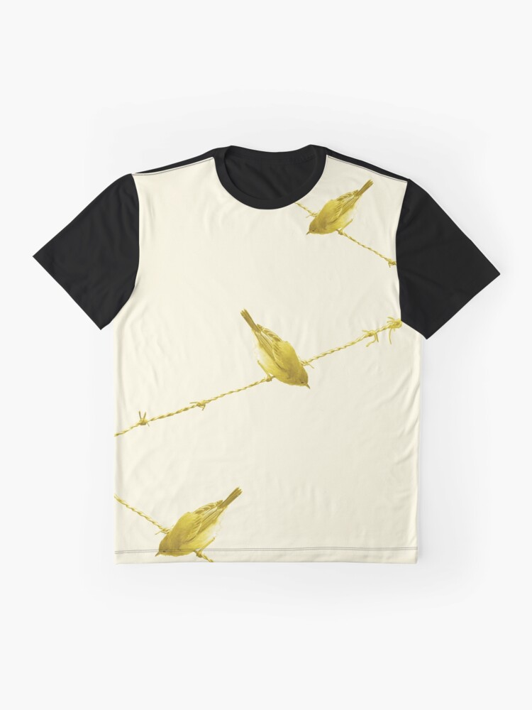 Alternate view of Monochrome - Yellow warblers on the wire Graphic T-Shirt