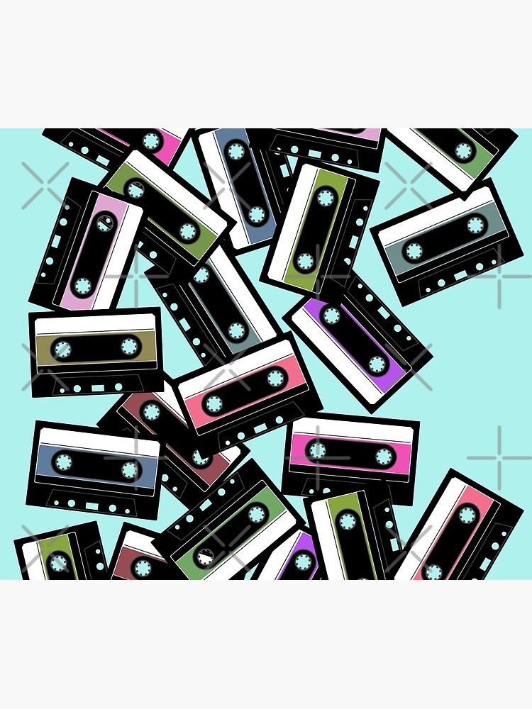 80s Colorful Cassette Mix Tape Pattern by BennyBruise