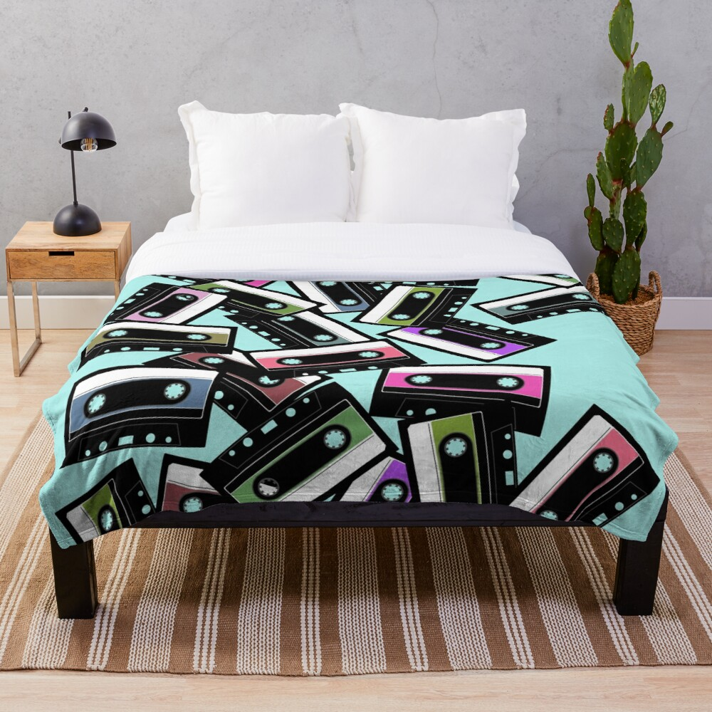 80s Colorful Cassette Mix Tape Pattern Throw Blanket