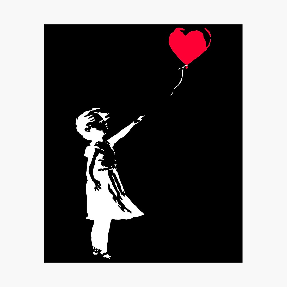 Kids Boys Girls Banksy Girl With Balloon T-Shirt Funny Urban Graffiti Art