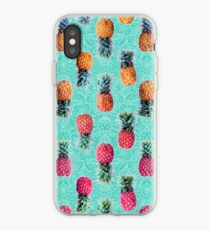 From Pineapple to Pink - tropical doodle pattern on mint iPhone Case