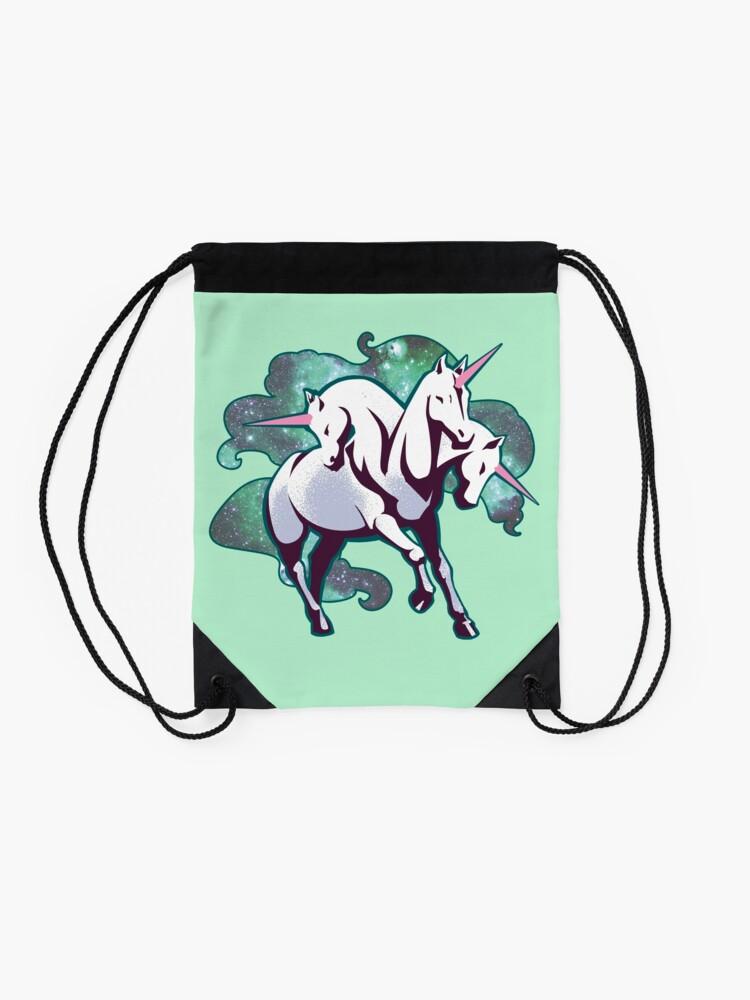 Alternate view of 3 headed unicorn Drawstring Bag