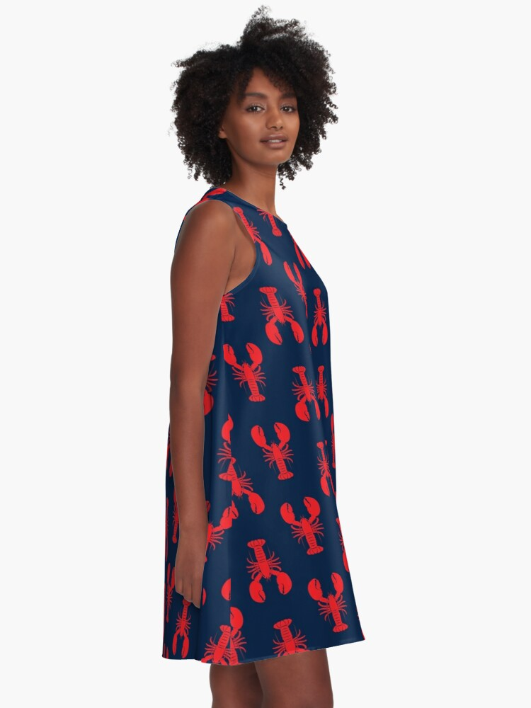 Alternate view of Lobsters - Red on Navy A-Line Dress