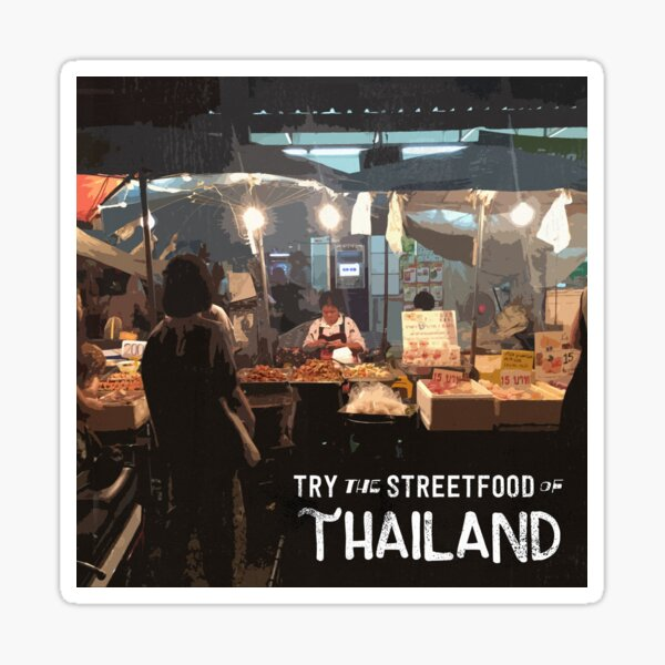 Streetfood of Thailand - Retro Style Travel Art Sticker