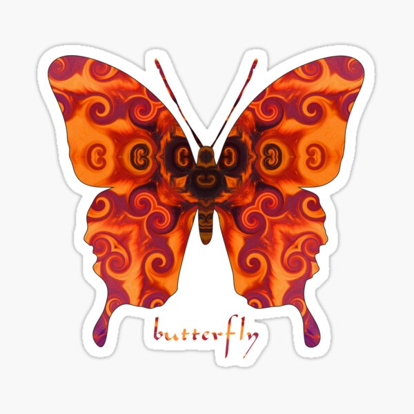 Fiery Orange Butterfly Sticker