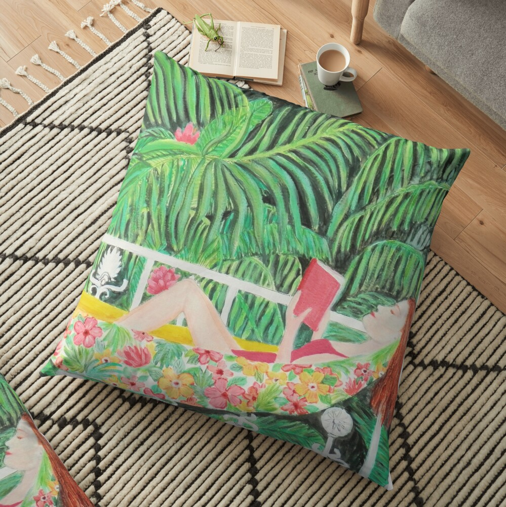 Tropical Hammock, Reading a book in Palm paradise, watercolor and acrylic painting by Magenta Rose Designs Floor Pillow