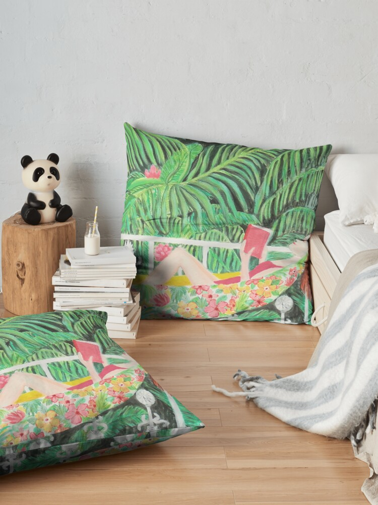 Alternate view of Tropical Hammock, Reading a book in Palm paradise, watercolor and acrylic painting by Magenta Rose Designs Floor Pillow