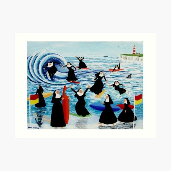 Surfing Sisters Art Print