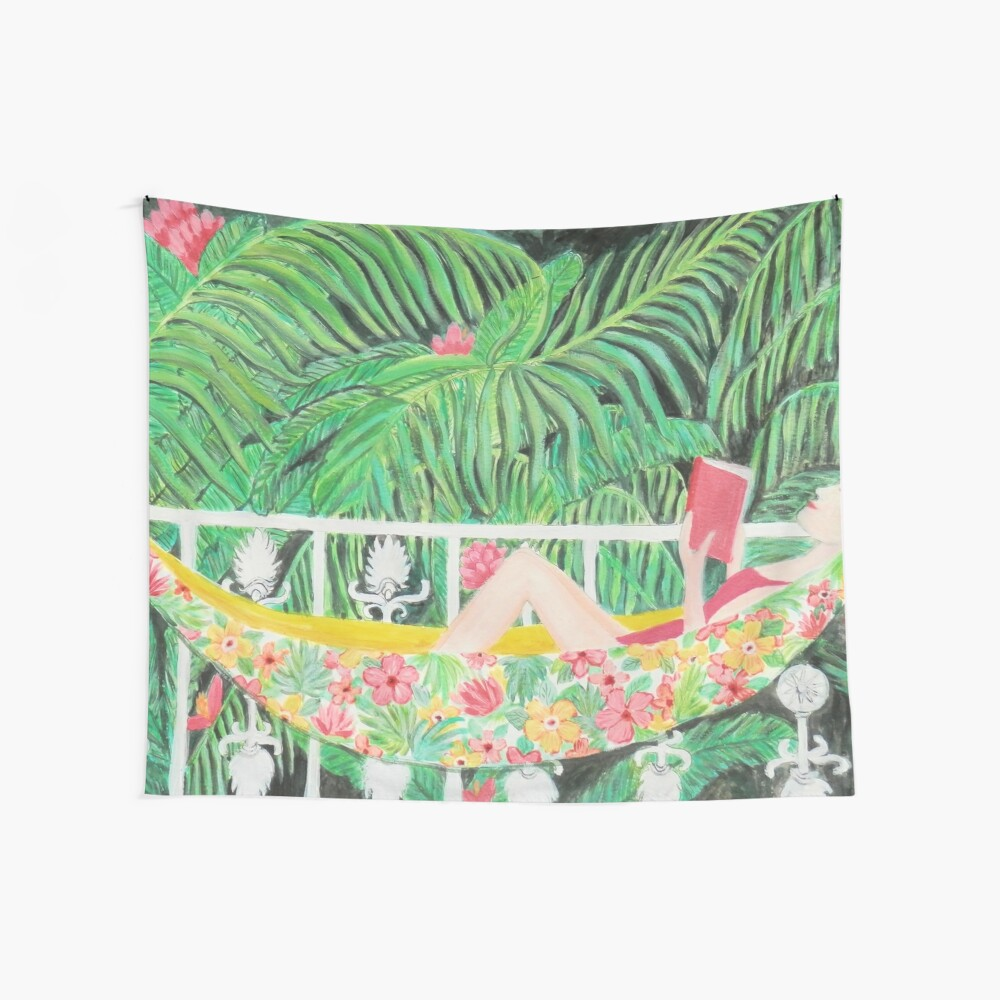Tropical Hammock, Reading a book in Palm paradise, watercolor and acrylic painting by Magenta Rose Designs Wall Tapestry