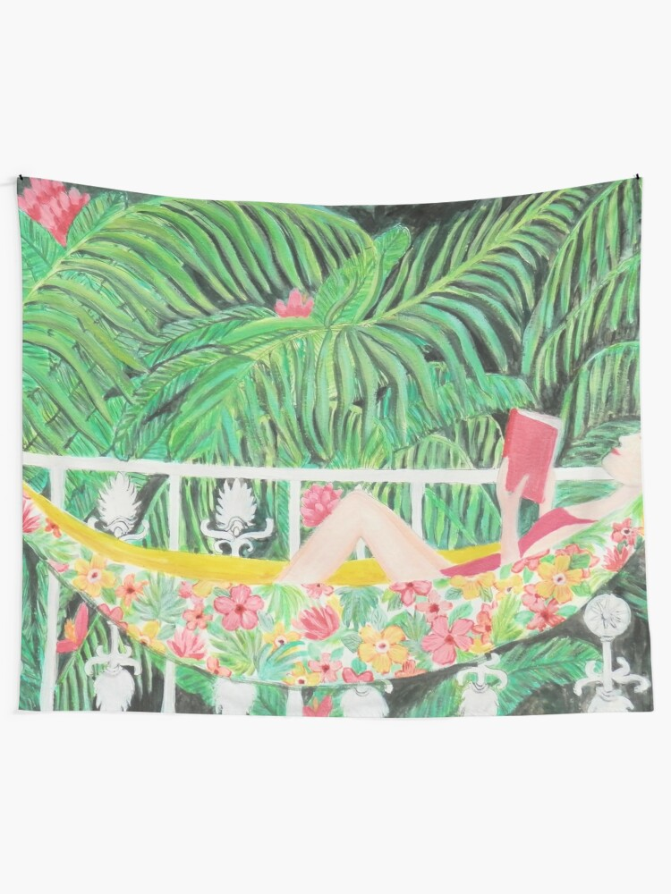 Alternate view of Tropical Hammock, Reading a book in Palm paradise, watercolor and acrylic painting by Magenta Rose Designs Tapestry