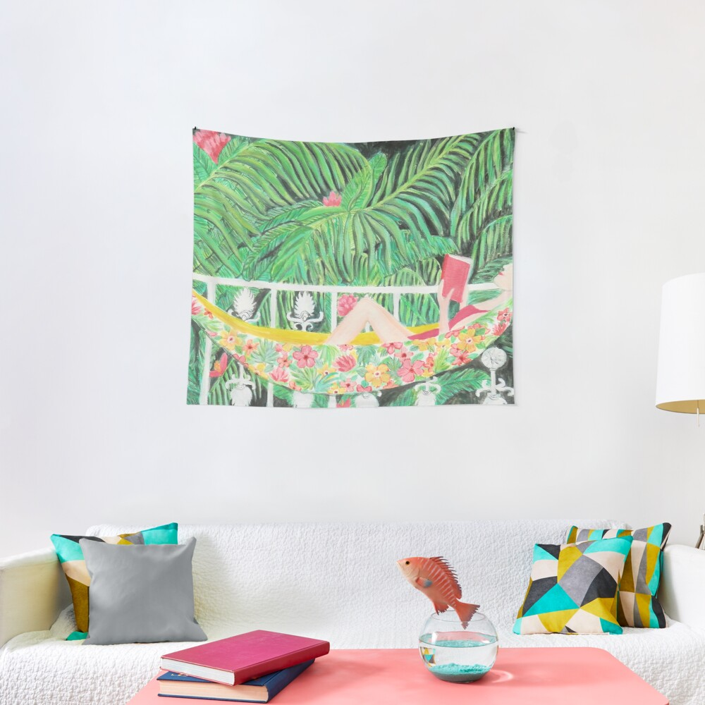Tropical Hammock, Reading a book in Palm paradise, watercolor and acrylic painting by Magenta Rose Designs Tapestry