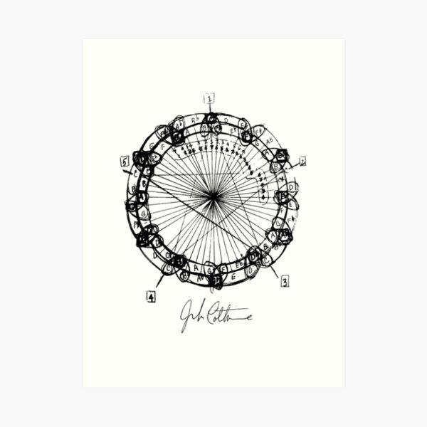 John Coltrane Chord Changes Mandala (dark design) Art Print