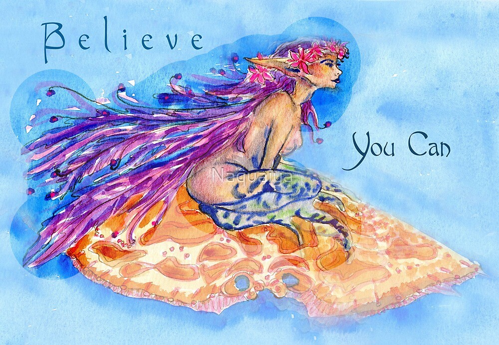 Mermaid-Believe You Can watercolor,a fantasy painting by hand by Naquaiya