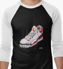 3D 8-bit basketball shoe 3 Men's Baseball ¾ T-Shirt