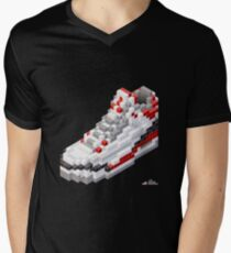 3D 8-bit basketball shoe 3 Men's V-Neck T-Shirt